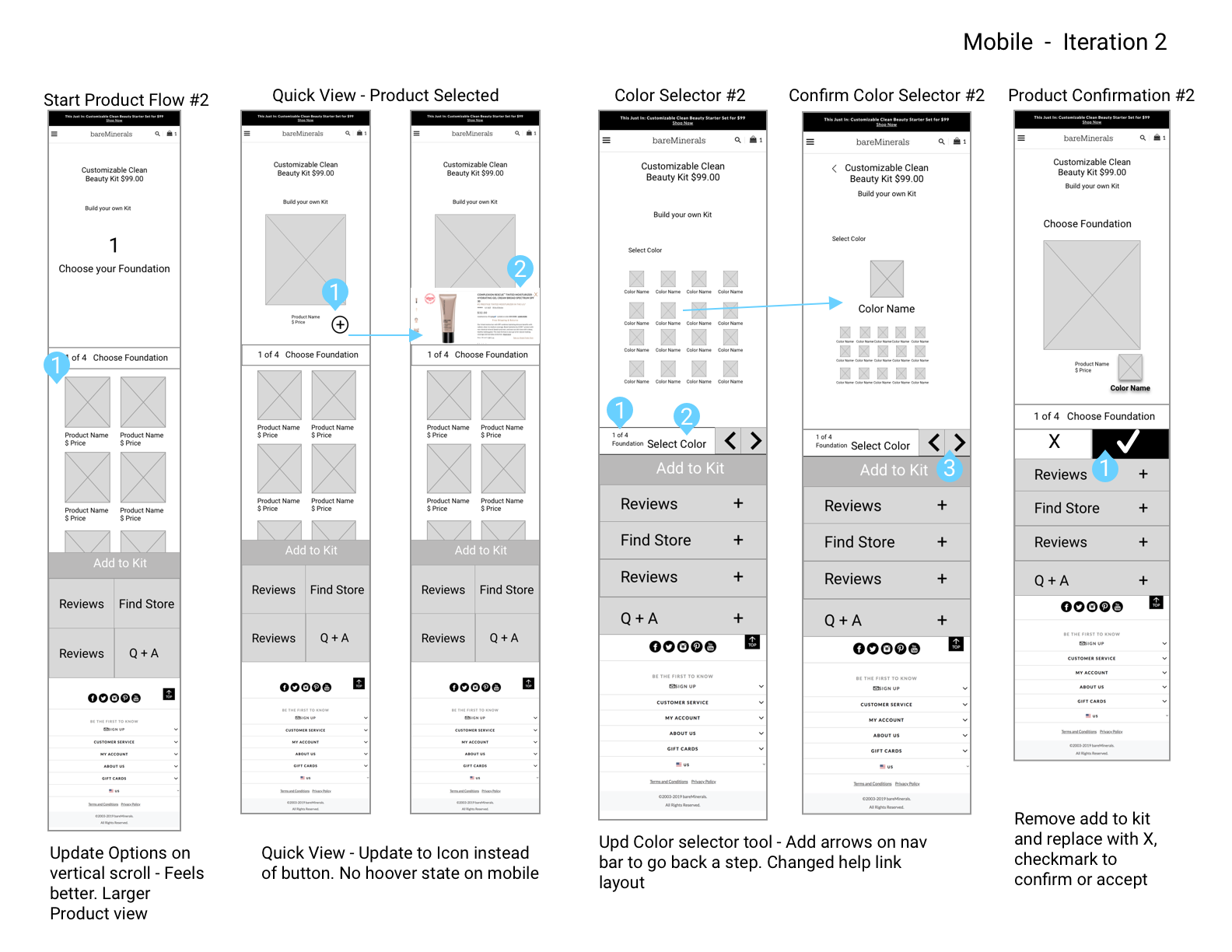 Mobile Wireframes – Iteration 2
