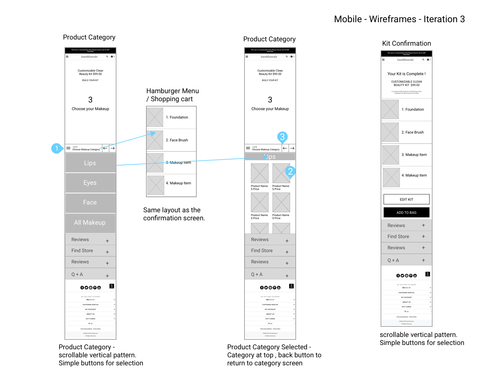 Mobile Wireframes – Iteration 3